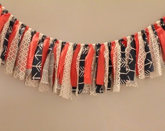 Coral, White & Blue/Green Fabric Garland