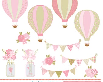 Pink Shabby chic style,air balloons,buntings and flowers, digital clip art set