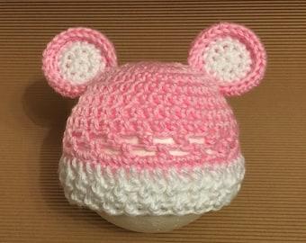 Littlebits Newborn Baby Crocheted Pink & White Teddy Beanie - Handcrafted in Australia RTS