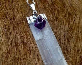 Selenite & Amethyst Necklace
