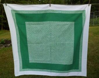 """Vintage 1940's Startex Nu-Mode Tablecloth~48-1/2 x 52""""~Green Basket Weave"""