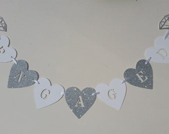 Engaged heart bunting banner. Engagement ring and heart bunting. Silver glitter & white enagagement party decor