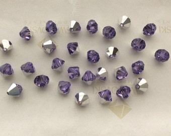 Vintage Swarovski #5301 Crystal Violet Comet Argent Light CAL Bicone Faceted Beads 3mm 4mm 5mm 6mm