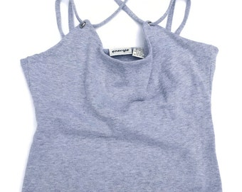 Flash Sale 90s Sporty Grey Criss Cross Crop Top