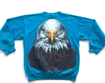 Flash Sale 90s Bald Eagle American Wildlife Crewneck Sweatshirt