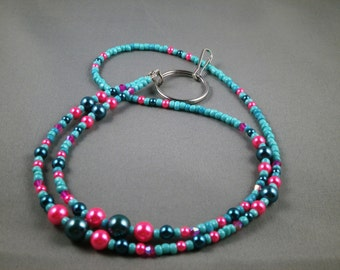 "Unique breakaway lanyard necklace with bead chain 32"" to 40"" long beaded leash ,ID badge holder strap , teal and pink cute lanyard"