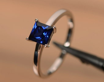 blue sapphire ring sterling silver solitaire ring gemstone ring sapphire princess cut ring august birthstone ring