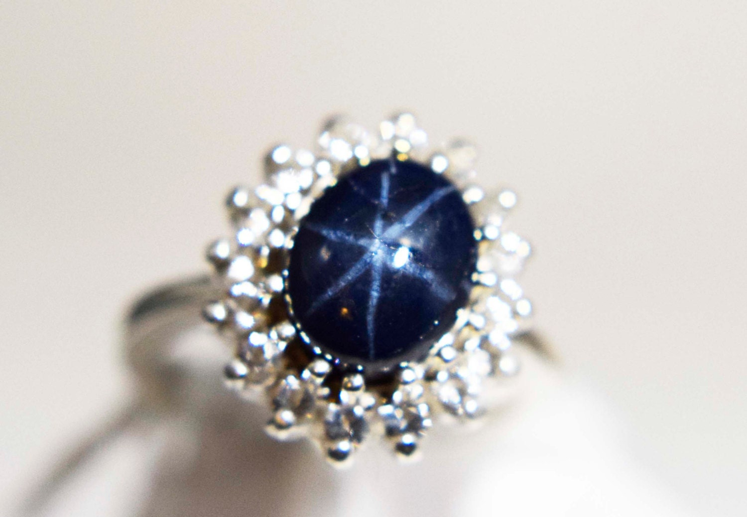 genuine blue star sapphire ring with halo. Black Bedroom Furniture Sets. Home Design Ideas