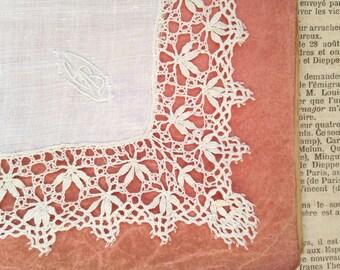 Antique 1900s French antique wedding bridal linen & Torchon bobbin lace handkerchief embroidered G B vintage napkin