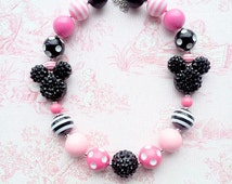 Minnie Mouse Necklace, Pink and Black, Disney Chunky Bubblegum Bead Necklace, Large Rhinestone Mickey, 20mm Beads Polka Dots, Rhinestones