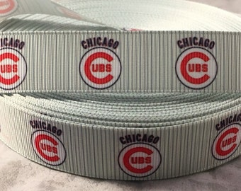 "Cubs Ribbon - 7/8"" Grosgrain Ribbon Chicago Cubs Ribbon by yard, for hair bows,crafting and more! Baseball Ribbon - Cubs"