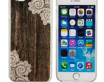 Apple iPhone hard case for 5 5s 6 & 6s Wood and Lace Henna