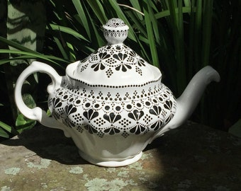 Beautiful Hand Painted Black and White Teapot