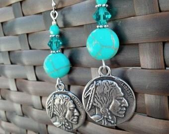 Turquoise Earrings Indian Head Nickel Earrings Silver Earrings Swarovski Coin Earrings Buffalo Nickel Native American Turquoise Jewelry