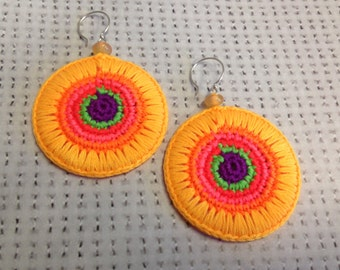 Crocheted Earrings Neon Colors