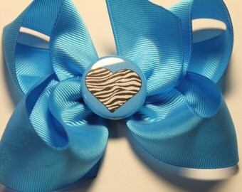 Cute Turquoise Bow with Zebra print Heart center