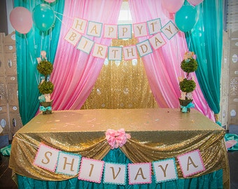 Party in a BOX!  Baby Pink and Mint themed Custom Confetti, Banner, Signs