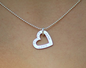 "Sterling Silver Necklace with a Heart Pendant ""believe hope love"""