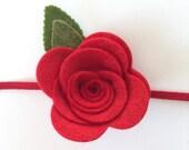 Felt Flower Headband - Newborn Headband - Toddler Headband - Baby headband - Skinny Headband - Felt Flower Headband In Red