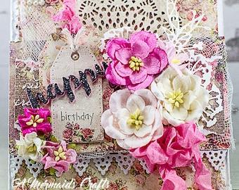 Shabby Chic Mixed Media Birthday Card