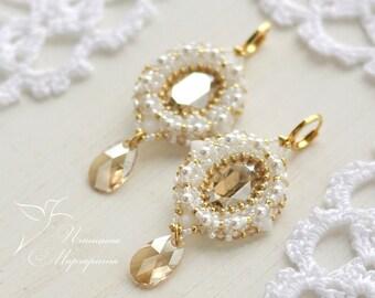 Bridal beaded earrings white and gold earrings beadwork earrings swarovski earrings beadwoven earrings bead earrings bead woven earrings