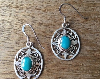 Turquoise Earrings - Oval Shaped Turquoise 925 Sterling Silver Filigree Earrings