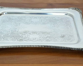 Antique FRIEDMAN Silver Co Large Rectangle Etched Serving/Butler Tray w Handles
