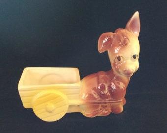 True Vintage Ceramic Donkey & Cart Planter