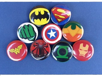 Superhero Pinback Buttons