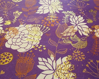 Purple Wrapping Paper-Dream of Purple Garden/Gold Embossed/Bird/Garden/flora/Lotus/Sparkly/Holiday Gift Wrap/Shining Wrapping Paper