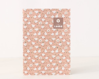 Unique Journal - Cute Lambs [Pink]  Lined/Softcover/B5/Animal lover/Perfect for School Notes/Kawaii/Office/Student/Back to School/Cute