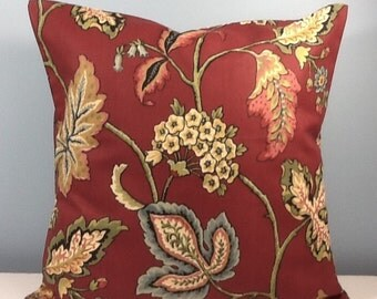 French country pillow. Burgundy Throw pillow cover. Fall pillow. Red Floral & leaves. Jacobean pillow.  Decorator pillow, toss pillow.