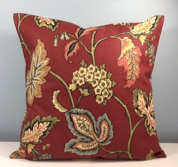 Burgundy Print Throw Pillows : French country pillow. Burgundy Throw pillow cover. Fall