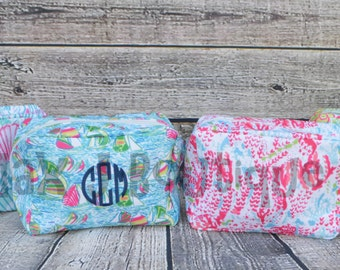 Personalized Cosmetic Bag - Lilly Pulitzer Inspired Makeup Bag - monogrammed Lilly Bag