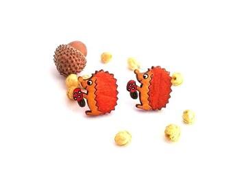 Hedgehog Earrings, Hedgehog Gift, Animal Earrings, Hedgehog Lover Gift, Woodland Earrings, Woodland Lover Gift, Animal Jewelry