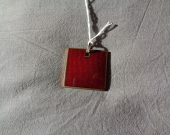 Italian Vintage Red Enamel Pendent signed