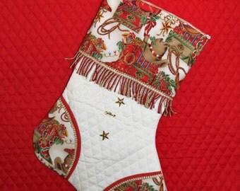 Western Santas Sleigh 2 Handmade Custom Christmas Stocking
