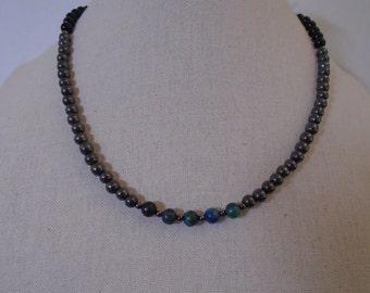 Lapis Chrysocolla Mens Necklace, Mens Hematite Necklace, Mens Onyx Necklace, Beaded Necklace, Mens Green Necklace.