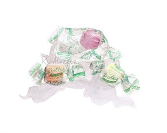 Maryland Gift, Saltwater Taffy,  Maryland Art, Maryland Art Print, Maryland Watercolor, Ocean City Maryland, Candy Print, Candy Illustration