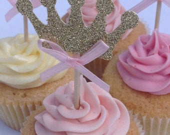 Pink and Gold Glitter Crown Cupcake Toppers, Gold Birthday Cake Toppers, Princess Cake Toppers, Party Cupcake Toppers