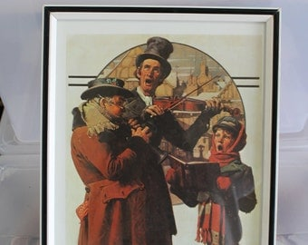 Christmas Trio Holiday Season Norman Rockwell Post Cover Print, Framed Book Page - 13 Inches by Almost 10 Inches, Violin, Singer, Oboe NICE