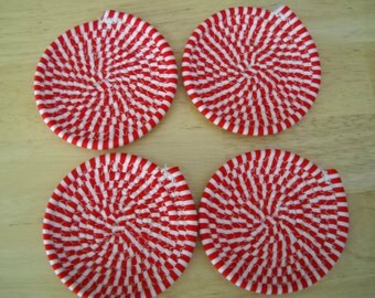 Set of four coiled fabric coasters//Coiled fabric coasters//Fabric coasters//Fabric coaster set//Red and white striped fabric coasters