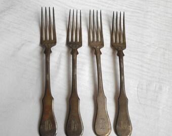 "Set 4pcs Vintage Berndorf dinner forks 1930-1940 nickel silver ""Alpaca"""