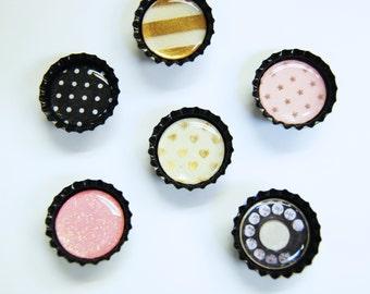 6 ct. Black Bottle Cap Magnets (Variety Pack 1)