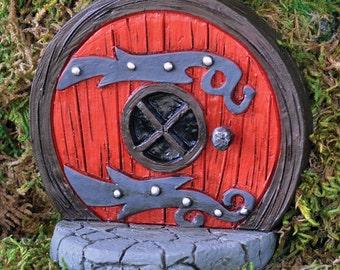 Round Fairy Door, Red Fairy Door, Fairy Garden Accessories