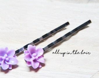 Purple Lily Bobby Pins - Purple Hair Pins - Flower Bobby Pins