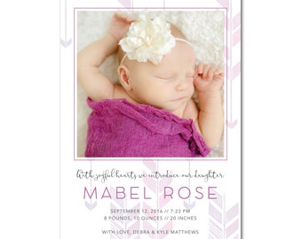 Birth/Baby 5x7 Announcement with Photo - Boho Baby - Watercolor Arrows - Printable and Personalized