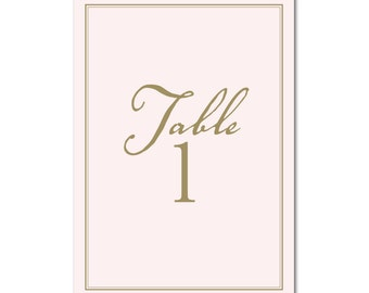INSTANT DOWNLOAD - Printable Table Numbers (1-12) - 5x7 - Pink & Gold - Champagne Bridal Shower