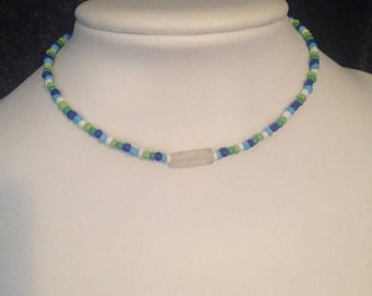blue, white and green choker necklace