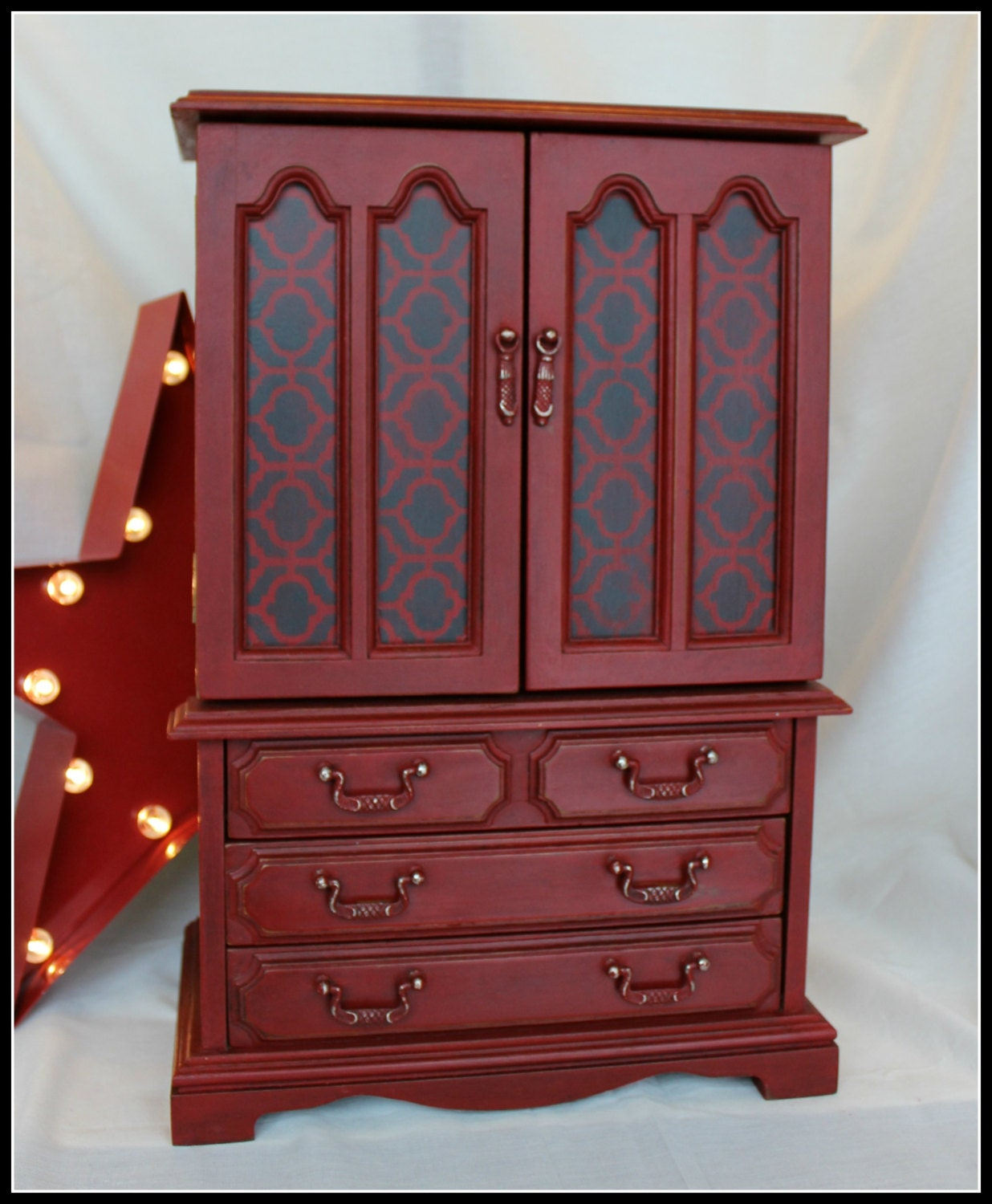 Vintage painted armoire jewelry box for Juno vintage modern jewelry armoire